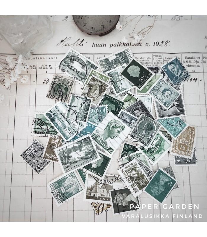 Vintage Stamps - Greens