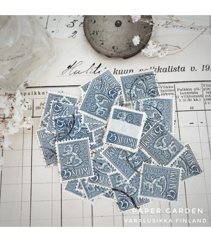 Vintage Stamps - Finnish Blue 25 Bundle
