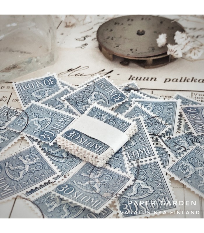 Vintage Stamps - Finnish Blue 30 Bundle
