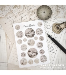 Paper Garden pienet ympyrätarrat, beige joutsen