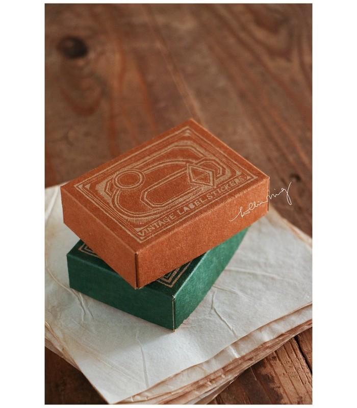 LCN - Large Vintage Label Sticker Box (oranssi/vihreä)