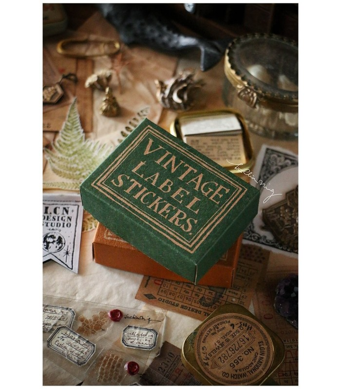 LCN - Large Vintage Label Sticker Box (Orange/Green)