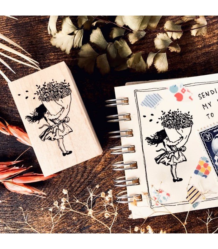 OHS - Girl With Flowers Stamp