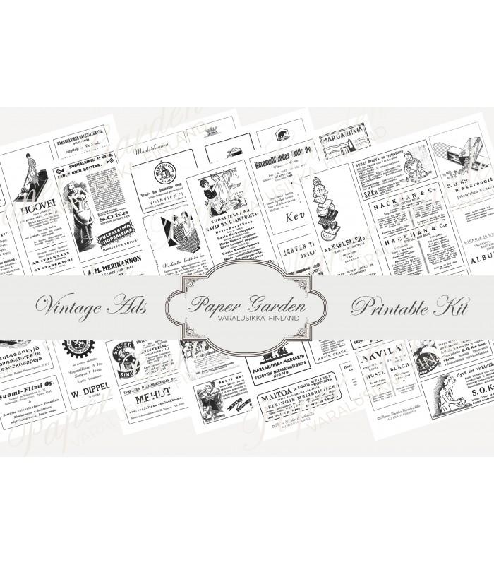 Digitaalinen Vintage Ads PDF Kit