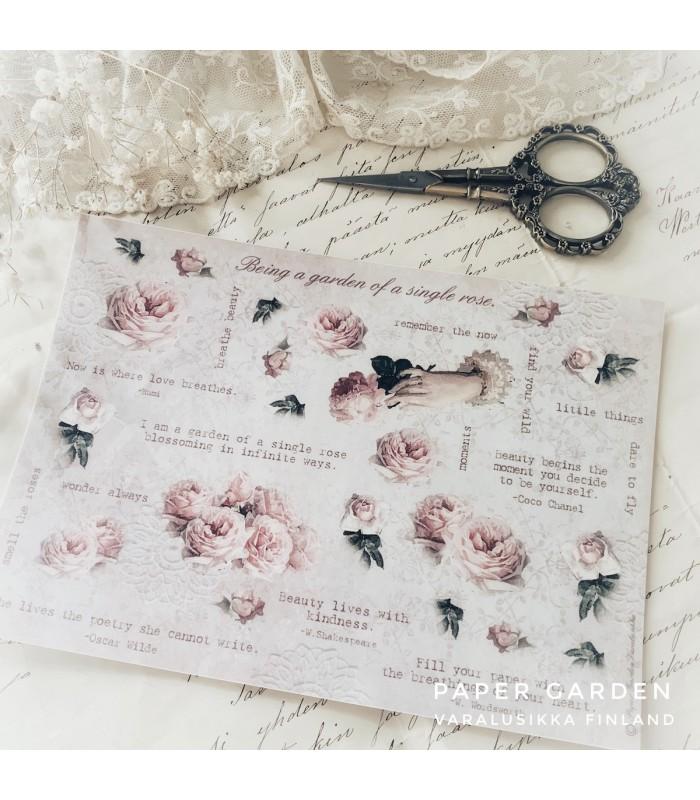 PG Rose Garden Cut & Paste -tarra-arkki