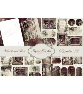 Digital Christmas Rose PDF Journaling Kit