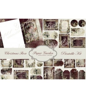 Tulostettava Christmas Rose PDF Journaling Kit