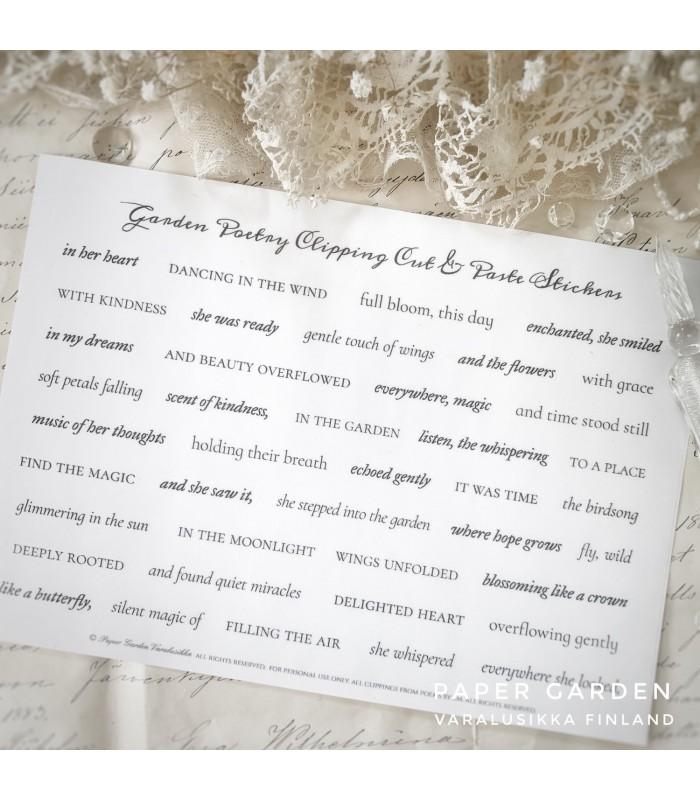 PG Garden Poetry Clippings Cut & Paste Sticker Sheet