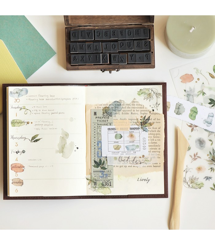 MU - Print-On Stickers 1091, Leaves & Watercolour Spots