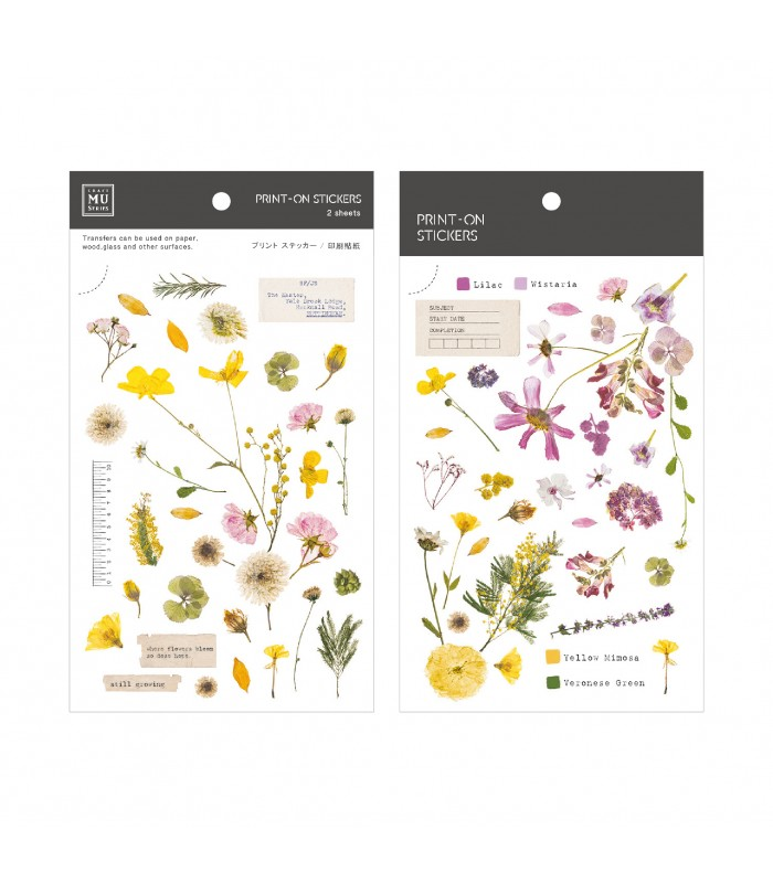 MU - Print-On Stickers 1103, Yellow and Pink Pressed Flowers