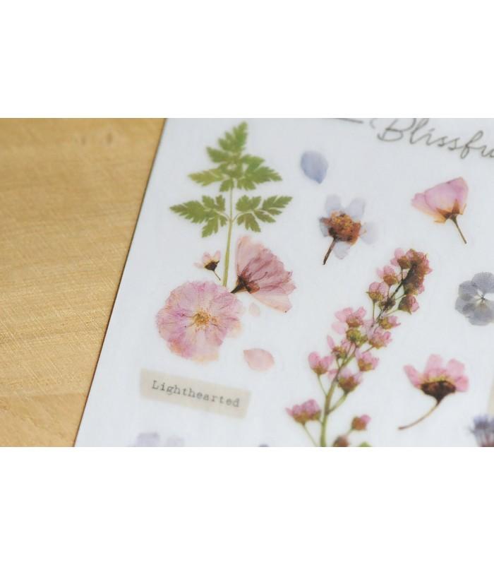 MU - Print-On Stickers 1104, Purple & Pink Pressed Flowers