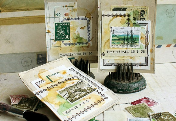 Guest Project by Paperiliitin: A set of postal ATCs
